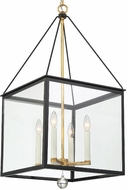 Crystorama WES-9907-BK-GA Weston Black and Antique Gold 17  Pendant Hanging Light
