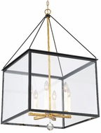 Crystorama WES-9908-BK-GA Weston Black and Antique Gold 21  Hanging Light Fixture