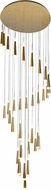 CWI 1103P40-36-619 Andes Contemporary Gold Leaf LED Multi Hanging Pendant Lighting