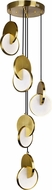CWI 1206P18-5-629 Tranche Contemporary Brushed Brass LED Multi Ceiling Pendant Light