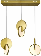 CWI 1206P24-3-629 Tranche Modern Brushed Brass LED Multi Drop Ceiling Light Fixture