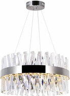 CWI 1220P24-601 Glace Contemporary Chrome LED 24 Hanging Lamp