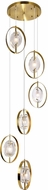 CWI 1224P21-6-625 Iris Modern Brass Halogen Multi Pendant Lighting Fixture