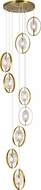 CWI 1224P24-9-625 Iris Contemporary Brass Halogen Multi Hanging Pendant Light