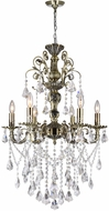 CWI 2011P24AB-6 Brass Antique Brass Mini Hanging Chandelier