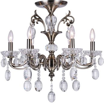 CWI 2016C24AB-6 Flawless Antique Brass Hanging Chandelier