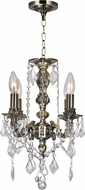 CWI 2037P14AB-4 Brass Antique Brass Mini Ceiling Chandelier