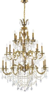 CWI 2039P40GB-24 Brass French Gold Ceiling Chandelier