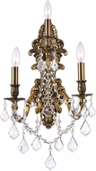 CWI 2039W13GB-3 Brass French Gold Wall Sconce Light