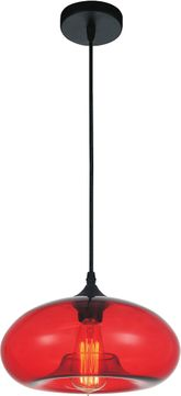 CWI 5553P11-Red Glass Contemporary Black Mini Drop Ceiling Lighting
