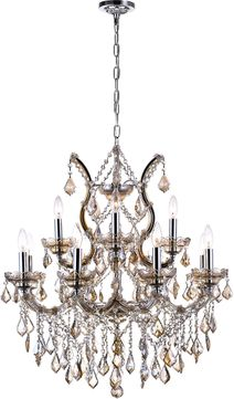 CWI 8311P30C-13 (Cognac) Maria Theresa Chrome Chandelier Light