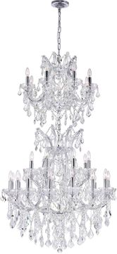 CWI 8311P36C-34 Maria Theresa Chrome Chandelier Light