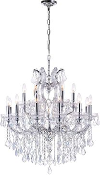 CWI 8318P30C-19 (Clear) Maria Theresa Chrome Chandelier Lamp