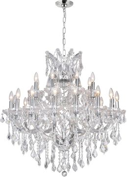 CWI 8318P36C-25 (Clear) Maria Theresa Chrome Ceiling Chandelier