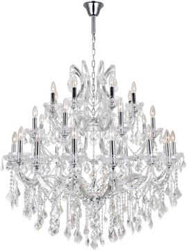 CWI 8318P42C-33 (Clear) Maria Theresa Chrome Chandelier Light
