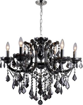 CWI 8399P26C-6 (Smoke) Riley Chrome Chandelier Lighting