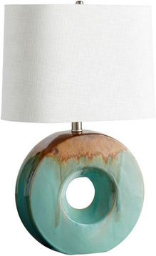 Cyan 05213-1 Oh Contemporary Blue Glaze and Brown LED Side Table Lamp