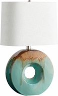 Cyan 05213-1 Oh Contemporary Blue Glaze and Brown L.E.D. Side Table Lamp