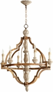 Cyan 05256 Bastille Traditional Sawyer's Wht Wash Plantation Brnze Chandelier Light