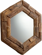 Cyan 06150 Hexagon Frontier Rustic Pecan Wall Mirror