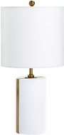 Cyan 07962-1 Cylindro Contemporary White and Brass L.E.D. Table Lighting