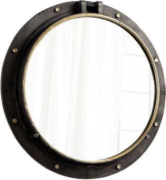 Cyan 08456 Barrel Contemporary Canyon Bronze and Gold Wall Mounted Mirror