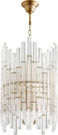 Cyan 10371 Niemeyer Contemporary Aged Brass and Clear Pendant Lighting