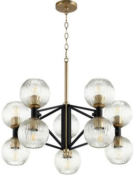 Cyan 10965 Helios Contemporary Noir and Aged Brass 29 Lighting Chandelier