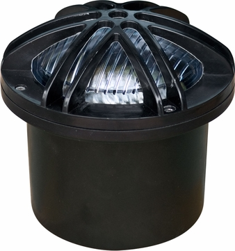Dabmar FG327-B Contemporary Black Halogen Exterior Fiberglass Adjustable Well Lighting with Star Grill
