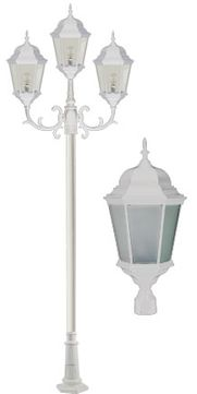 Dabmar GM2303-W-FROST 3 Light Post Top White Outdoor Post Lamp