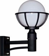 Dabmar GM265-B Cast Aluminum Globe Modern Black Exterior Wall Mounted Lamp