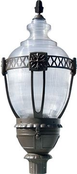 Dabmar GM660-BZ Clear Acorn Contemporary Bronze Exterior Post Lighting Fixture Top