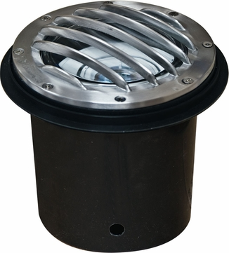 Dabmar LV305-SS-MR Contemporary Electro-Plated Stainless Steel Halogen Exterior Cast Aluminum Well Lighting with Grill