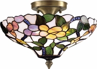 Dale Tiffany 7966-3LTF Peony Tiffany Antique Brass Ceiling Lighting Fixture