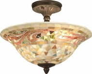 Dale Tiffany 8780-3LTF Bradshaw Mosaic Tiffany Antique Brass Flush Mount Lighting