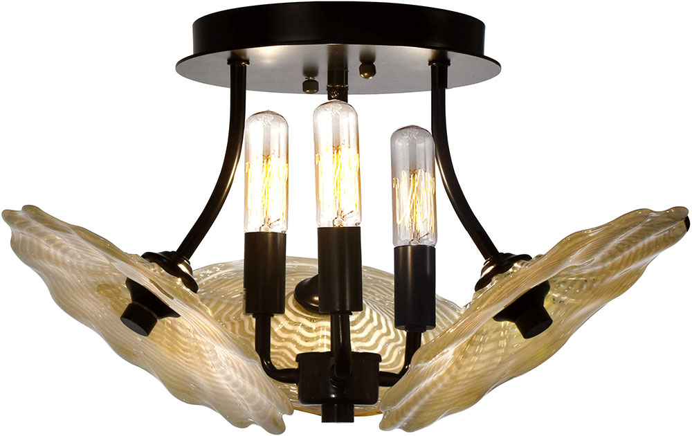Dale Tiffany Ah18004 Beige Feather Contemporary Tiffany Bronze Ceiling Light Dal Ah18004