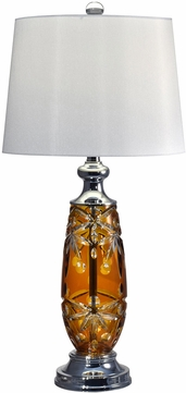 Dale Tiffany GT17084 Glossy Amber Polished Chrome Table Top Lamp