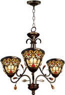 Dale Tiffany STH15012 Peony Tiffany Tiffany Bronze Mini Chandelier Lighting