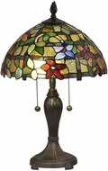 Dale Tiffany STT18143 Valencia Floral Tiffany Antique Brass Table Light