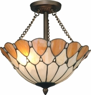 Dale Tiffany TH11202 Scalloped Jeweled Tiffany Antique Bronze Overhead Light Fixture