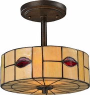 Dale Tiffany TH12448 Fantom Leaf Tiffany Rustic Bronze Flush Mount Lighting