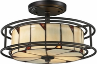 Dale Tiffany TH12456 Woodbury Tiffany Dark Bronze Flush Mount Light Fixture