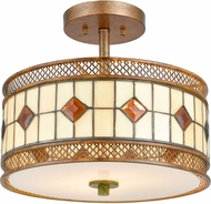Dale Tiffany TH17022 Minerals Tiffany Rustic Bronze Flush Mount Light Fixture