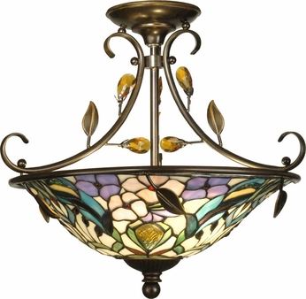 Dale Tiffany TH90212 Peony Antique Golden Sand Ceiling Lighting Fixture