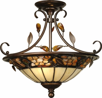 Dale Tiffany TH90218 Pebble Stone Antique Golden Sand Ceiling Light Fixture