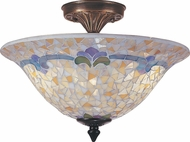 Dale Tiffany TM100553 Johana Mosaic Tiffany Antique Brass Flush Mount Lighting