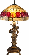 Dale Tiffany TT15100 Turtleback Tiffany Antique Brass Side Table Lamp