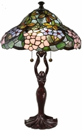 Dale Tiffany TT19026 Halle Floral Tiffany Antique Bronze Table Lamp