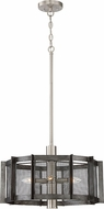 Designers Fountain 89385-WI Baxter Contemporary Weathered Iron with Satin Platinum Drum Pendant Hanging Light