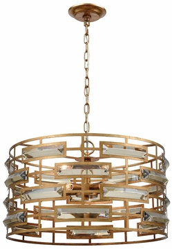 Dimond 1141 031 Metro Gold Leaf Clear Crystal Drum Pendant Light